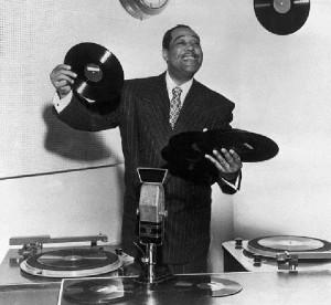 Duke Ellington in Radio Station with Records